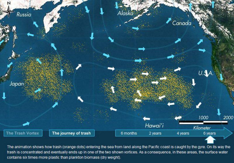 тихоокеанское мусорное пятно фото из космоса