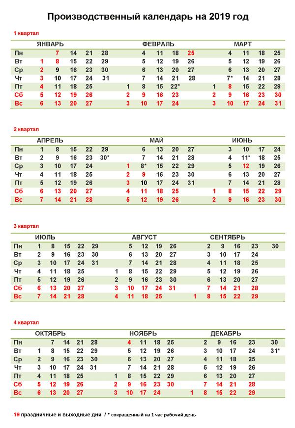 производственный календарь 2019 утвежденный правительством РФ