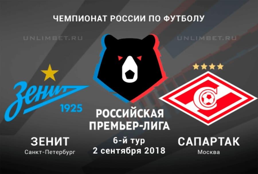 Зенит - Спартак 2 сентября 2018 прямая трансляция