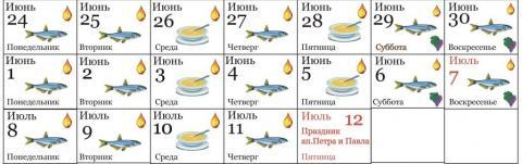 петровский пост в 2019 году календарь питания по дням