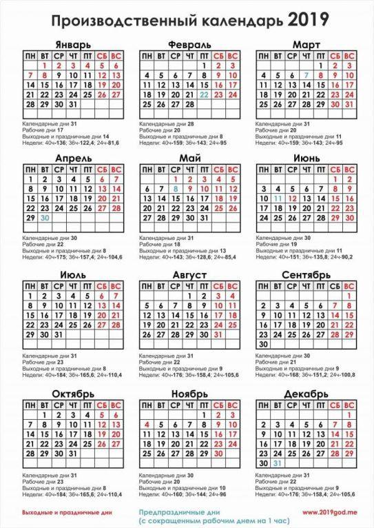 производственный календарь 2019 с праздниками и выходными